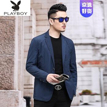 プレイボーイプレイボーイPlayboyスーツ男性用薄手の夏ビジネススーツは日焼け止めスーツ男性用薄手の韓国式修身スーツは、西の上着と紺のTシャツF 20 195/4 XLです。