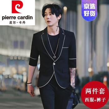ピルカダンの規格品メーンズズ夏の七分袖の小さいスーツの男性おしゃれ韓国式修身カッコイイネットの赤いスーツの男性のスーツの中で袖を少し詰めて青年を詰めて黒(洋服+ズボン)を編みますM