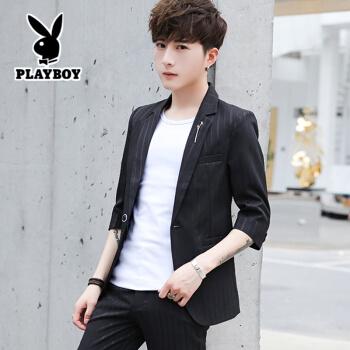 プレイボーイ夏の中袖小さいスーツ男性修身韓式ファッションスーツ男性は薄手のタイプの学生七分袖ジャケット2118黒のストライプ(スーツ+ズボン+Tシャツ)XL(116-128斤に適しています)