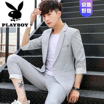 ℘プレイボーイフラッグシップのオフィシャルショップℑフラッグシップのオフィシャルショップ夏の中で袖の小さいスーツの男性の韓国式の軽いスーツの男性の修身の薄いタイプの学生の7分袖のオーバーのジャケットの505灰色【オーバー+ズボン+Tシャツを送ります】M(80~106斤)