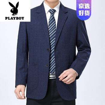 ℘プレイボーイブランドのメンズスーツ男性の中年2020春新制品の中に、高齢者向けのゆったりとしたスーツのお父さん外套37種類/ネイビー165/72が105-120斤に似合います。