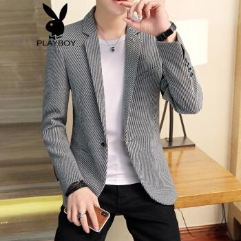 プレイボーイ(playboy)2019スーツ男性修身韓式ファッションモデル春単西男性ビジネス格子春の小さいスーツ灰色M