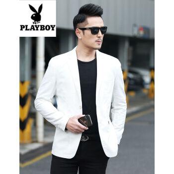プレイボーイスーツ男性2020春夏服新品ホワイトスーツ男性修身青年薄手のコート韓国式単西上着潮白色185/XL