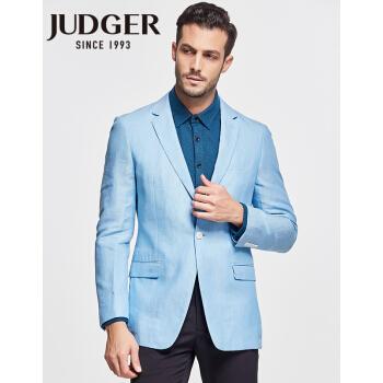 【春の新商品】庄吉judgerはスリットなしで、薄手の半枚のスーツの上着を少し詰めます。男性は日常出勤します。空色の薄い純亜麻便のスーツの空色(100%亜麻)175/48 A