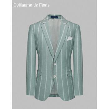 ジーヨンモン(G・MONS)リネンスーツ男性ブレザービジネス略装単西修身夏季薄緑色ストライプの上着48ヤード