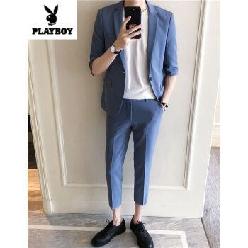 プレイボーイが小さいスーツスーツを少し詰めます。男性は夏の七分袖が韓国式です。