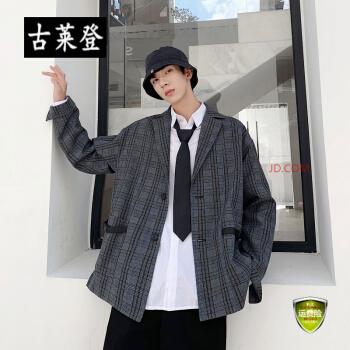 春と秋の韓国風のチェックのコートを少し詰めた男性港風の小さいスーツ学生のゆったりした服。
