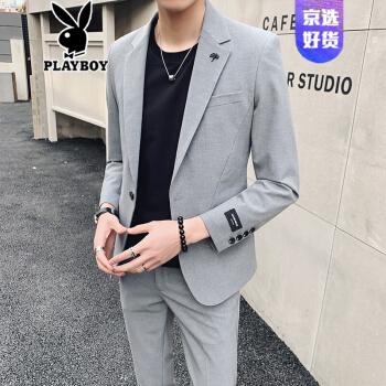 プレイボーイ(playboy)のオフィシャルショップ夏の男性のスーツの上着のワンセット小さいスーツの上着の韓国式のファッションは少し薄い純色の修身スーツのスーツのスーツの薄い灰色(単品のスーツ)XLを詰めます。