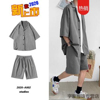太った兄のスーツの男性のスーツは夏季のゆったりしている大きいサイズの7分の袖の韓国式おしゃれのスーツのデブの男性のオーバーの灰色のXXL