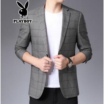 プレイボーイ(PLAYBOY)スーツのジャケット男は韓国式男性スーツの上着を少し詰めます。2020夏の新作です。青年は小さいスーツを少し詰めます。YL-8329灰色の170。