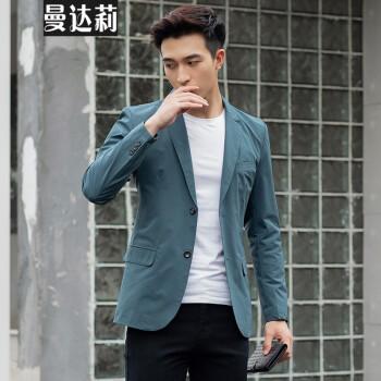 スーツの上着を少し詰めます。男性は春夏薄いサイズで、身を修めるビジネスです。韓国式ファッションの上着は青年の格好がいいです。青いXL(体重120一135斤に似合います。)