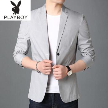 プレイボーイ(playboy)青年スーツ男性用薄い灰色の単品はスーツのコートだけで夏の軽薄なスタイルです。ミニスーツのメーンズ上着は灰色で175/L 135-50斤です。