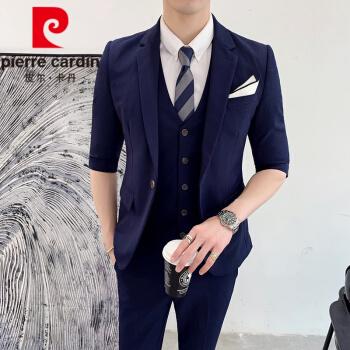 ピルカダンの小さいスーツ男性2020ファッションネット赤い修身中袖スーツ男性イギリス風ファッション少し純色の三つのセットのニット紺色Mセット