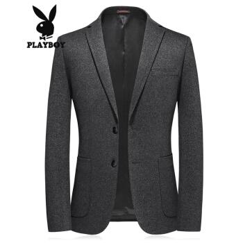 プレイボーイスーツ男性2020年秋新品男性ビジネス略装ウールスーツ単西深灰色2 XL