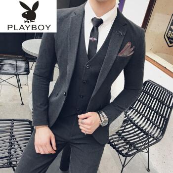 プレイボーイスーツ男性三点セット小ぶりスーツ韓国式修身正装新郎かっこいい結婚ドレス潮深灰色【スーツ+パンツ】7 XL