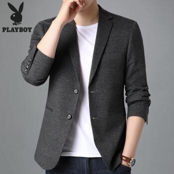 プレイボーイスーツ男性2020春秋季薄スーツ男性ビジネススーツ純色カジュアル上着8072灰色L