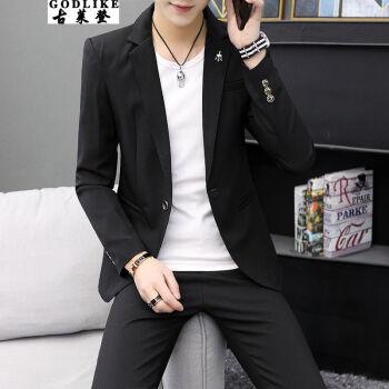 古莱登スーツスーツ男性韓式修身薄タイプの小さいスーツ男性新郎随郎結婚ビジネススーツ学生はコートを少し詰めます。ファッション男子は格好がいいです。七分袖二点セットの黒い単西(所蔵店舗は優先出荷します。)標準サイズ: