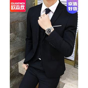 【爆款直下】2020秋メンズスーツ男性スーツ修身男性スーツ黒セット3 XL