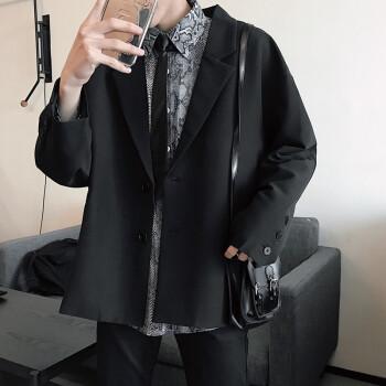 韩式おしゃれジャケットメンズ港风小さいスーツ復古学生ゆったりbf风黑一服春秋黒2 XL