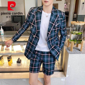 ピルカダンスーツ男子学生2020夏新品修身イギリス式ビッグチェックスーツファッション少しカッコイイパンツセット男性潮深青L