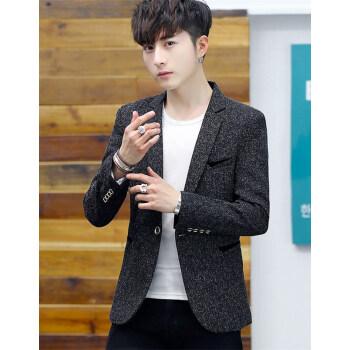 古莱登のスーツの男性の新商品の個性の格好が良い小さいスーツの男性の修身の韓国式のファッションの髪形師はスーツの男性の青年の単に西の上着の春の服装の黒色の常規XLを少し詰めて120-140斤を提案します。