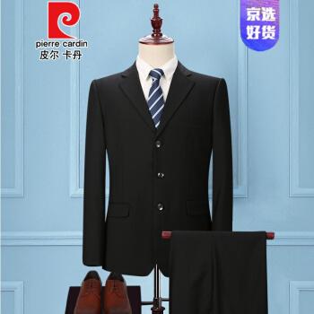 ピルカダン中年男性スーツ父親ビジネススーツスーツスーツ職業スーツ中高齢者の父のスーツのウェディングドレスニット3粒のボタン純黒スーツ+ズボン+ネクタイ170/M
