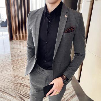 戈客2020春夏季男性新商品韓国式ビジネス純色スーツがかっこいいです。小さいスーツセットを二つセットにして、灰色4 XLです。