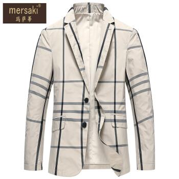 マサティの軽い贅沢ブランドの男性はスーツを少し詰めてファッション的に身を修める格子の小さいスーツの2020春の新型の韓国式の格好が良い上着のビジネス単西の外套の米の黄色の170/88 M