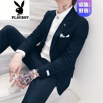 プレイボーイのフラッグシップのオフィシャルショップに小さいスーツの男性の職業のスーツを少し詰めます。韓国式おじゃらかっこいいです。白い男性のスーツは夏と黒の3セット(西+ズボン+シャツ)50/L