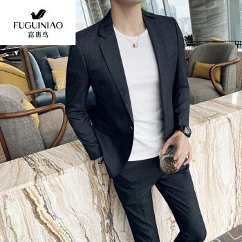 富貴鳥の春夏の薄手のスーツの男性の修身服の青年の韓国式学生の英倫の風のごろつきのハンサムなスーツの男性のスーツの湿っている濃い灰色【スーツ+ズボン】3 XL