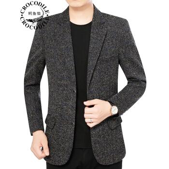 ワニのTシャツ男性2020秋の新品中年男性ビジネス少しスーツ男性コートハンガー修身ジャケット西上衣父服カレー色9126/XL