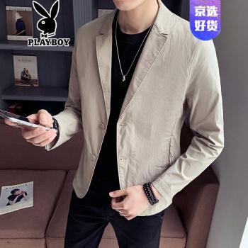 プレイボーイの軽奢ハイエンドスーツ男性2020夏新品薄スーツ男性修身韓国式おしゃれカッコイイ軽薄男性スーツ単西外装その色M 100-120斤を提案します。