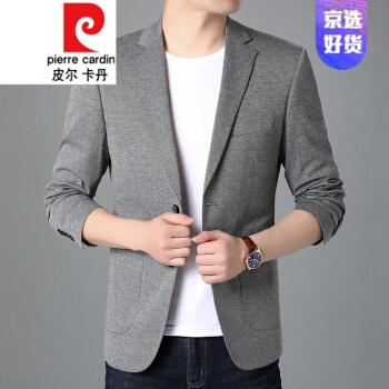ピルカダンスーツ男性2020外套男性韓国式修身おしゃれカッコイイ。アイロンなしの小さいスーツにニットグレー170。