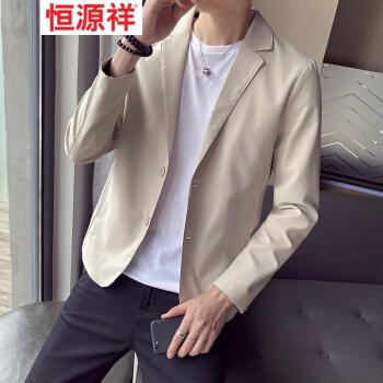 恒源祥ブランドのウインドブレーカー男性の大型サイズのデブの純色ジャケット韓国式おしゃれ秋の小さいスーツの若者の上着のファッション的なかっこいいモデルのカーキ色L