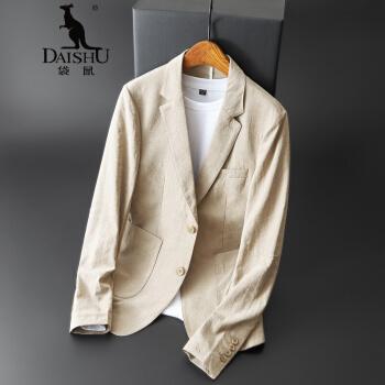 カンガルーメンズ男性スーツ青年スーツビジネスシンプル西2020年夏修身外套男性カーキ色2 XL