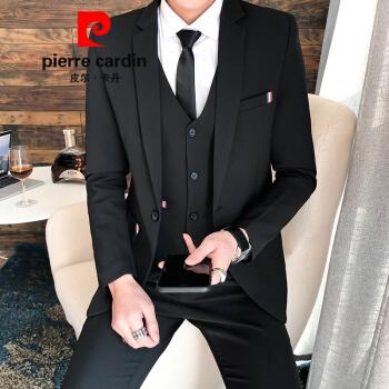 ピルカダンの軽贅沢ハイエンドスーツスーツ男性コートの上着の中で青年韓式結婚服の修身バックのスーツビジネススーツの正装ニット黒【スーツ+ズボン】ベルトネクタイのリボンXL(123~138斤)を送ります。