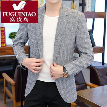 富貴鳥の高級軽贅沢2020新品スーツ男性韓国式おしゃれ修身スーツ上着春秋新款格子格好いい西灰色M