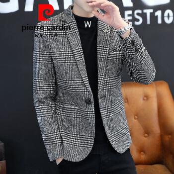 ピルカダンの旗艦のオフィシャルショップℑ2020新品毛です。チェックの小さいスーツの新品です。秋冬おにゃれのスーツの上着は韓国式修身が厚くなります。単西の格好良い上着の新商品です。灰色XL。