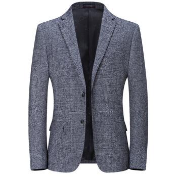 ピルカダンメーズ2020新品スーツ男性ビジネス略装ファッション格子ブルーの小さいスーツの上着シワ防止上着浅青い170/M