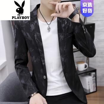 プレイボーイ(PLAYBOY)おしゃれ青少年プリント修身小洋服大サイズファッションスーツ男性コートQT 5020-P 85 8821黒3 XL