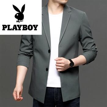 プレイボーイ2020秋新作スーツ男性ビジネス用ワンポイント小さいスーツの中に、長いスタイルのコートの薄いタイプの上質メーズグレーM