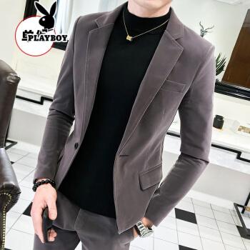 プレイボーイ春と秋の新商品は小さいスーツの男性のオーバーを少し詰めて身を修める韓国式の格好が良い男性の皮の绒のスーツのスーツのスーツの灰色(単品)の単M
