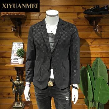 西原美ブレザー男性2020秋新品イギリス風おしゃれ修身大サイズスーツ男性FD-F-3724黒XL