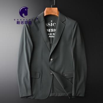 GonoFeci軽奢ブランドメンズスーツ男性薄手の中年ビジネス用ゴムプリントの小さいスーツの糸を少し詰めて滑る小さいミツバチの図案の修身単西外套春秋新款の色の170