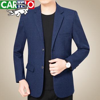 カディオクロコダイル(秋季尚新)秋の中年男性スーツビジネス少し格子のスーツのコートの大人の男性のお父さんの上着の西02-6972青い170