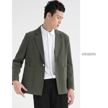 クリスボーグ2020秋冬新作スーツ男性秋冬韓国式ゆったりしたおしゃれかっこよくてパーマフリービジネス青年男性ヤムチャの小さいスーツのコートは濃い緑のM/48