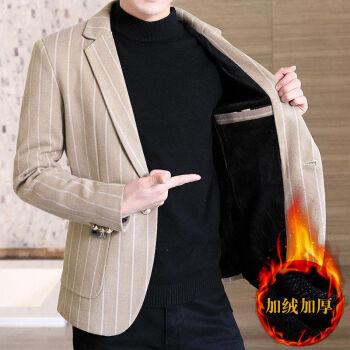 恒源祥ブランドの同じタイプの加絨は厚くて、少しスーツを詰めます。男性の韓式おしゃれ毛です。小さいスーツの秋冬スタイルの単西保温ストライプのコートの羽音ネットは赤いです。