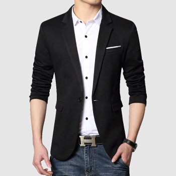 兪兆林ブレザー男性2020春夏韓国式修身ビジネス略装男性青年かっこいいおしゃれジャケットYMXZ 200203黒L(サイズがやや小さい)