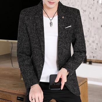 スーツを略装した上着を設定します。男性は韓国式の格好がいいです。若者は小さいスーツを修理します。男性はパーマなしのヘアスタイリストコートです。春と秋のシングル上着は黒で27822 Mです。