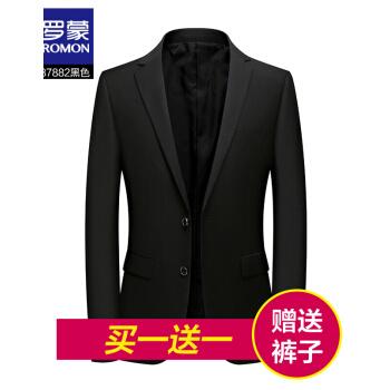 ロモン(ROMON)小さいスーツを少し詰めます。男性用のスーツは春の新品です。韓国式修身おしゃれ男性用薄手のサイズは西メーズ601黒です。